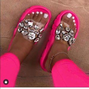 Neon Pink sandals/slides